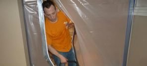 Mold Removal Long Beach Technician Using Air Mover Near Vapor Barrier